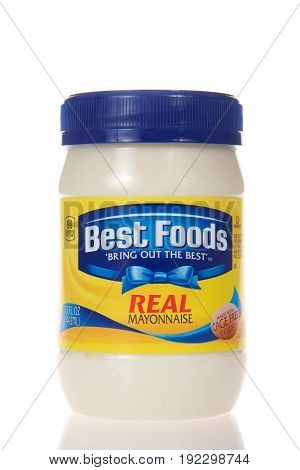 Alameda CA - February 22 2017: Jar of Best Foods brand Real Mayonnaise. Best Foods is America's number one Mayonnaise is made with real simple ingredients: eggs oil and vinegar.