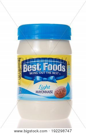 Alameda CA - February 22 2017: Jar of Best Foods brand Light Mayonnaise. Best Foods is America's number one Mayonnaise is made with real simple ingredients: eggs oil and vinegar.