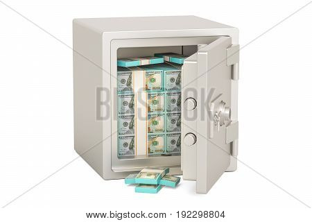 Safe Box With Dollar Packs 3D rendering