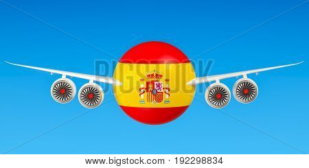 Spanish airlines and flying's flights to Spain concept. 3D rendering