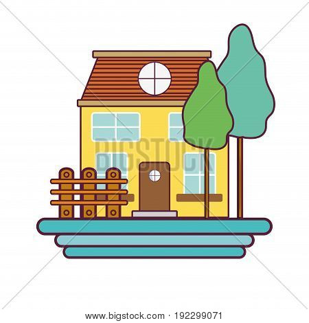 beutiful house with grid wood vector illustration