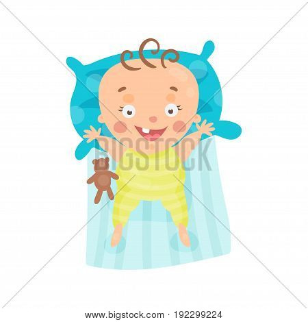 Cute cartoon smiling baby lying in his bed colorful character vector Illustration isolated on a white background