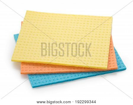 Set of 3 sponge napkin isolated on a white. Close up top view.