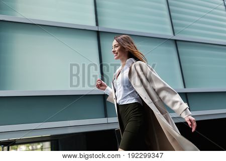 Professional beautiful and attractive businesswoman posing at office