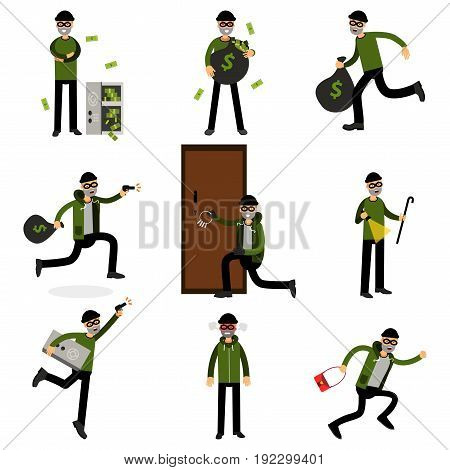 Burglars committing crimes set, sneaking thiefs vector Illustrations isolated on a white background