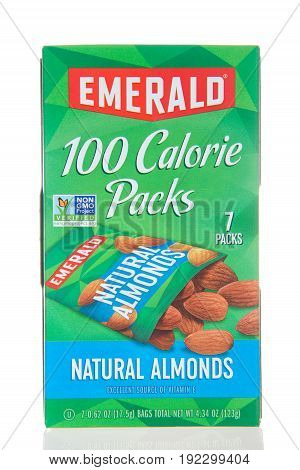 Alameda CA - March 06 2017: Box of Emerald brand natural almonds. 100 calorie packs. Emerald Nuts provides a wide variety of tasty nut snacks