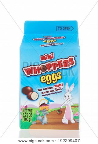 Alameda CA - March 06 2017: Mini Whoppers eggs in a small milk carton type box. Whopper's are America's original Chocolate coated Malted Milk Ball.