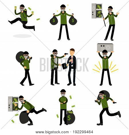 Sneaking thiefs set, burglars committing crimes vector Illustrations isolated on a white background