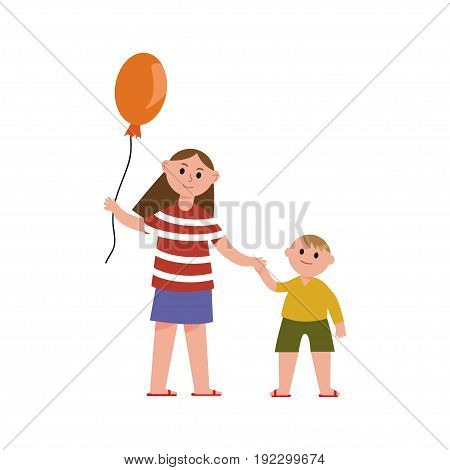 Sister with balloon holding her little brothers hand cartoon characters vector Illustration isolated on a white background