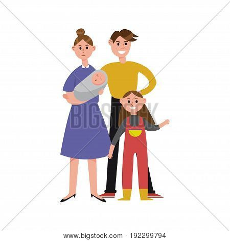 Parents with their two children cartoon characters, happy family vector Illustration isolated on a white background
