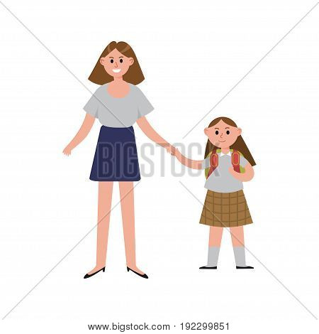 Mother taking her daughter to school cartoon characters, happy mom with her child vector Illustration isolated on a white background