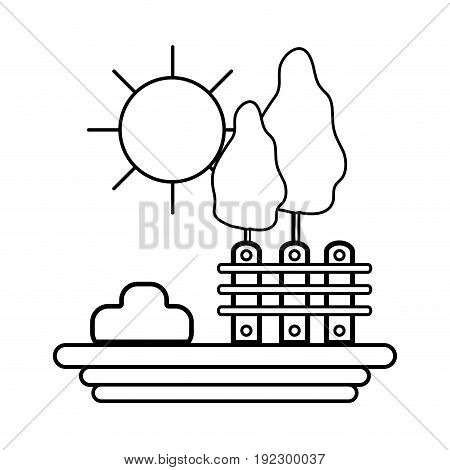 line grid wood with trees and sun vector illustration