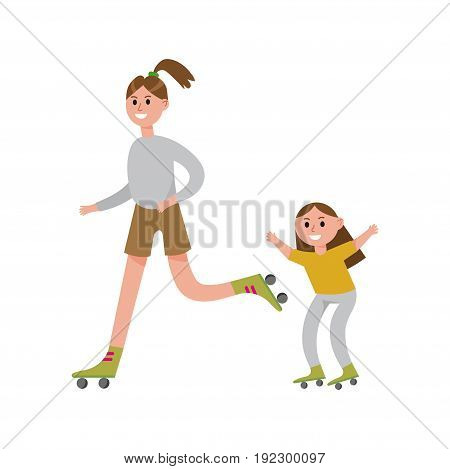 Smiling mother with her daughter roller skating cartoon characters, happy family playing sports together vector Illustration isolated on a white background