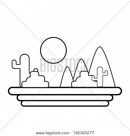 line mountains with cactus and plants with sun vector illustration