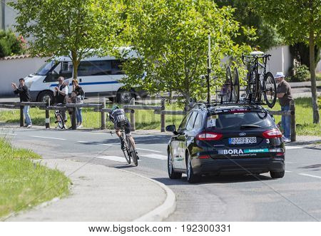 Bourgoin-Jallieu France - 07 June 2017: The German cyclist Emanuel Buchmann of Bora-Hansgrohe Team riding during the time trial stage 4 of Criterium du Dauphine 2017.