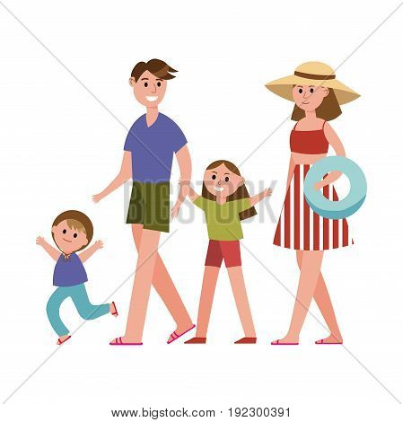 Happy parents with kids on summer vacations cartoon characters, beach holidays vector Illustration isolated on a white background