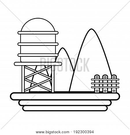line mountains with water tank towel and grid wood vector illustration