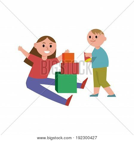 Happy children playing building blocks cartoon characters, brother and sister play together vector Illustration isolated on a white background