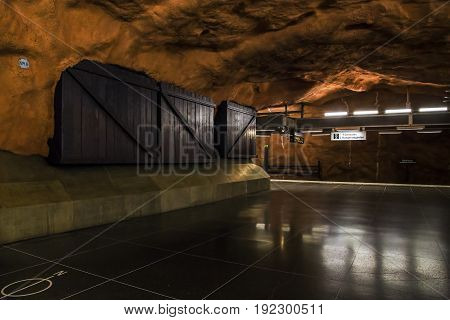 STOCKHOLM, SWEDEN - JUNE 27, 2016: This is hall of the Radhuset subway station.