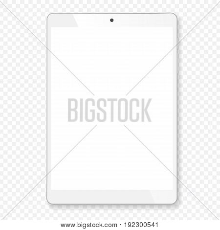 Realistic tablet portable computer. Contemporary white gadget with shadow, wide format. Graphic design element for catalog, web site, as blank mockup, demonstration template. Vector illustration.