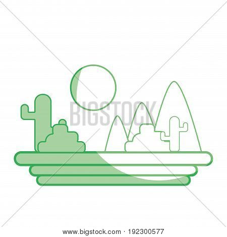 silhouette mountains with cactus and plants with sun vector illustration