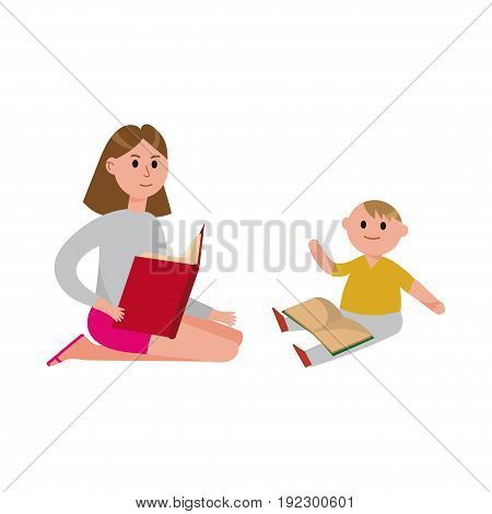 Mother reading a book to her cute son cartoon characters vector Illustration isolated on a white background