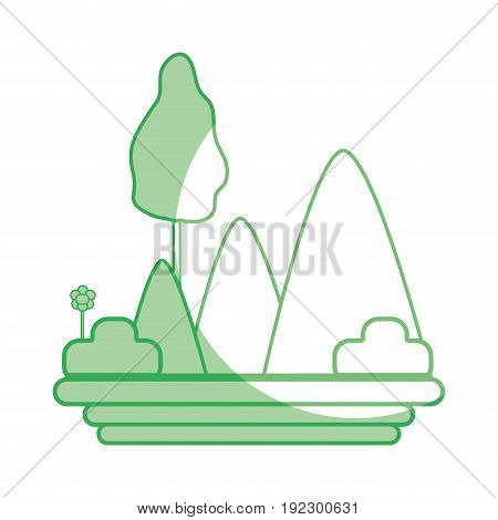 silhouette mountains with plants with flowers and trees vector illustration