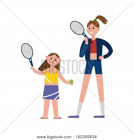 Happy mother playing tennis with her daughter cartoon characters, happy family playing sports together vector Illustration isolated on a white background