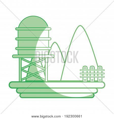 silhouette mountains with water tank towel and grid wood vector illustration