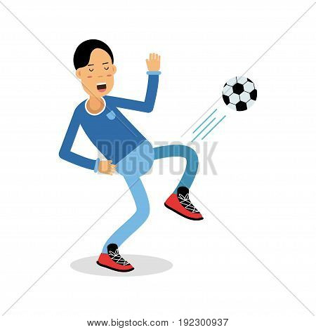 Active young boy kicking a soccer ball cartoon character, kids physical activities vector Illustration isolated on a white background