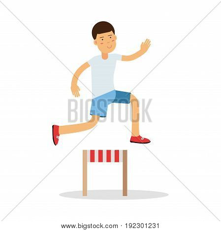 Active boy jumping hurdle cartoon character, kids physical activities vector Illustration isolated on a white background