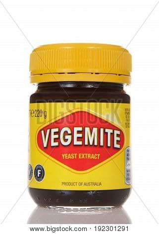 Alameda CA - March 13 2017: Vegemite brand Yeast Extract a thick black Australian food spread made from leftover brewers yeast extract with vegetables and spice. Popular in Australia and Britain.