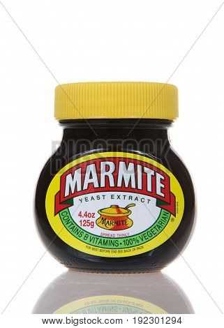 Alameda CA - March 13 2017: Marmite brand Yeast Extract. A by-product of beer brewing enjoyed on toast for breakfast in sandwiches at lunchtime. Popular in Australia and Britain.