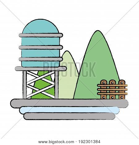 mountains with water tank towel and grid wood vector illustration