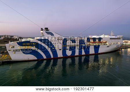 Tunisia.Tunisia.May 25 2017. ships and ferries GNV in the port of La Gullet in Tunisia at sunset.