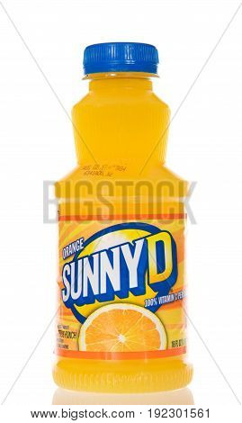Alameda CA - March 17 2017: Bottles of Sunny D brand orange drink. Original flavor. Sunny Delight Beverages Co. is a privately owned company in Cincinnati Ohio.