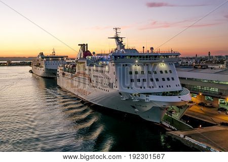 Tunisia.Tunisia.May 25 2017. ships and ferries in the port of La Gullet in Tunisia at sunset.