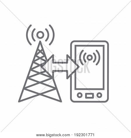 Cellphone Tower Icon With Emitting Pinging Transmission Waves