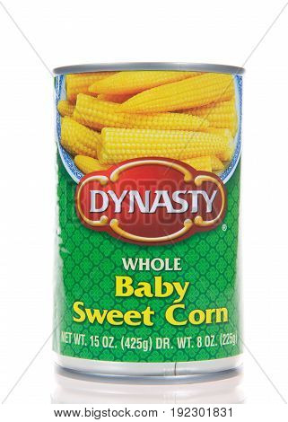 Alameda CA - March 17 2017: One 8 oz can of Dynasty brand whole baby sweet corn. Dynasty is the leading brand of Asian specialty food ingredients in supermarkets.