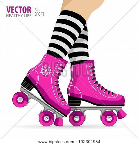 Roller girl. Quad skates classic. Roller skates. Sport background. Vector Illustration