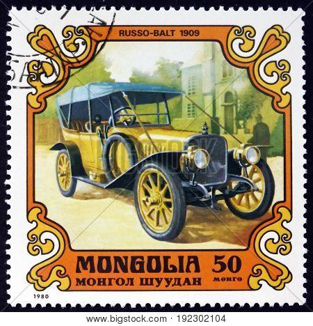 MONGOLIA - CIRCA 1980: a stamp printed in Mongolia shows Russo-Balt 1909 Antique Car circa 1980