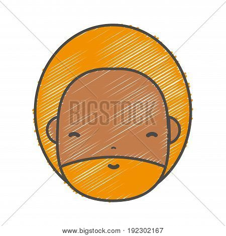 man face with beard and hairstyle to avatar kawaii vector illustration