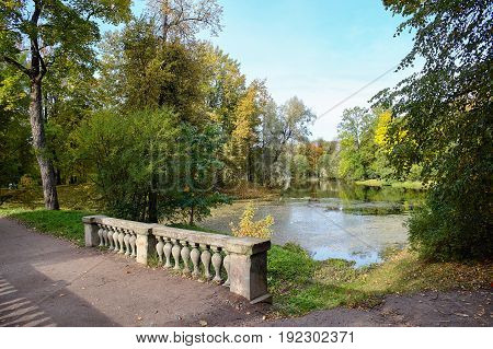 Picturesque views of the Alexander Park in the city of Pushkin in the golden autumn. Tsarskoe Selo, St. Petersburg, Russia