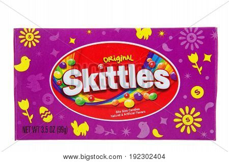Alameda CA - April 10 2017: One box of original Skittles Easter special edition. Bite size candies natural and artificial flavors.