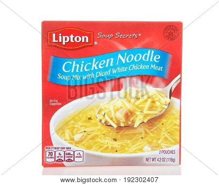 Alameda CA - April 10 2017: One box of Lipton brand Chicken Noodle Soup. Soup Mix with Diced White Chicken Meat.