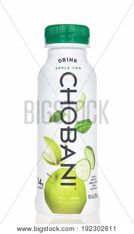 Alameda CA - April 20 2017: One 10 ounce bottle of CHOBANI brand Greek yogurt drink. Apple Vegetable flavor. Chobani LLC has world's largest yogurt plant in Twin Falls Idaho.