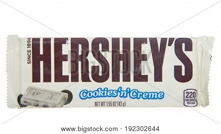 Alameda CA - April 21 2017: One Hershey's brand Cookies'n'Creme candy bar. Hershey's is one of the largest chocolate manufacturers in North America.