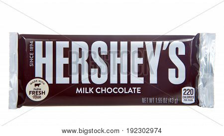 Alameda CA - April 21 2017:One Hershey's brand milk chocolate candy bar. Hershey's is one of the largest chocolate manufacturers in North America.