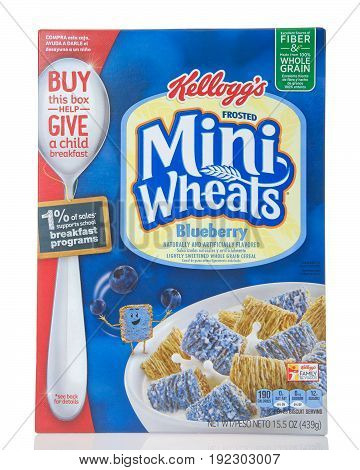 Alameda CA - April 27 2017: Box of Kellogg's brand Mini Wheats blueberry flavor. The breakfast cereal with 8 layers of wheat and one of sweet.