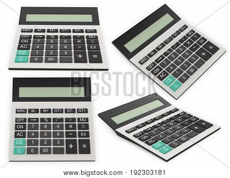 Office standard calculator. 3D illustration isolated on a white background.